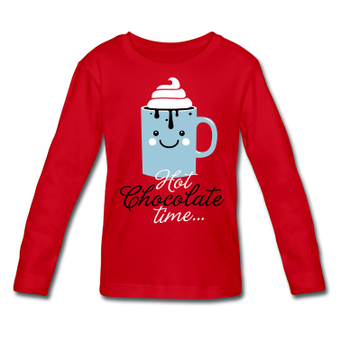 Funny-hot-chocolate-with-cream-time-in-cool-cold-snow-winter-typography-t-shirts-Kids--Long-Sleeve-Shirts